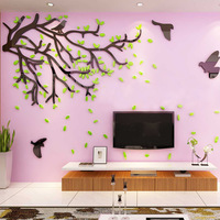 Green Tree Flyer Design Acrylic Wall Sticker 1pcs 3D TV Sofa Background Decor Wall Stickers Rome Decoration adesivo de parede