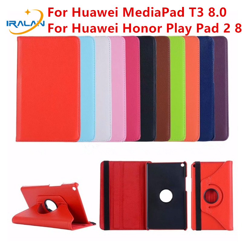 Hot 360 Rotating PU leather Case For Huawei MediaPad T3 8.0 KOB-L09 KOB-W09 Tablet Stand Cover for Honor Play Pad 2 8+Stylus Pen for huawei mediapad t3 7 0 wifi case soft silicone case cover for huawei mediapad t3 7 0 bg2 w09 7 inch tablet pc gifts