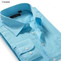 2017 Yüksek Kaliteli Dimi Rahat Elbise Gömlek Erkek Gömlek İş Uzun Kollu Slim Fit Erkek Bluz ile Çin T. KÖPEKBALıĞı XCS-XXX