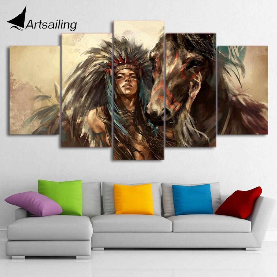 HD gedruckt 5 stück Leinwand Kunst Native American Indian Mädchen Malerei Pferd Wand Bilder Decor Freies verschiffen CU-2563B