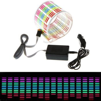45*11CM Car RGB LED Music Rhythm Flash Light Sound Activated Sensor Equalizer Rear Windshield Sticker Styling Neon Lamp image
