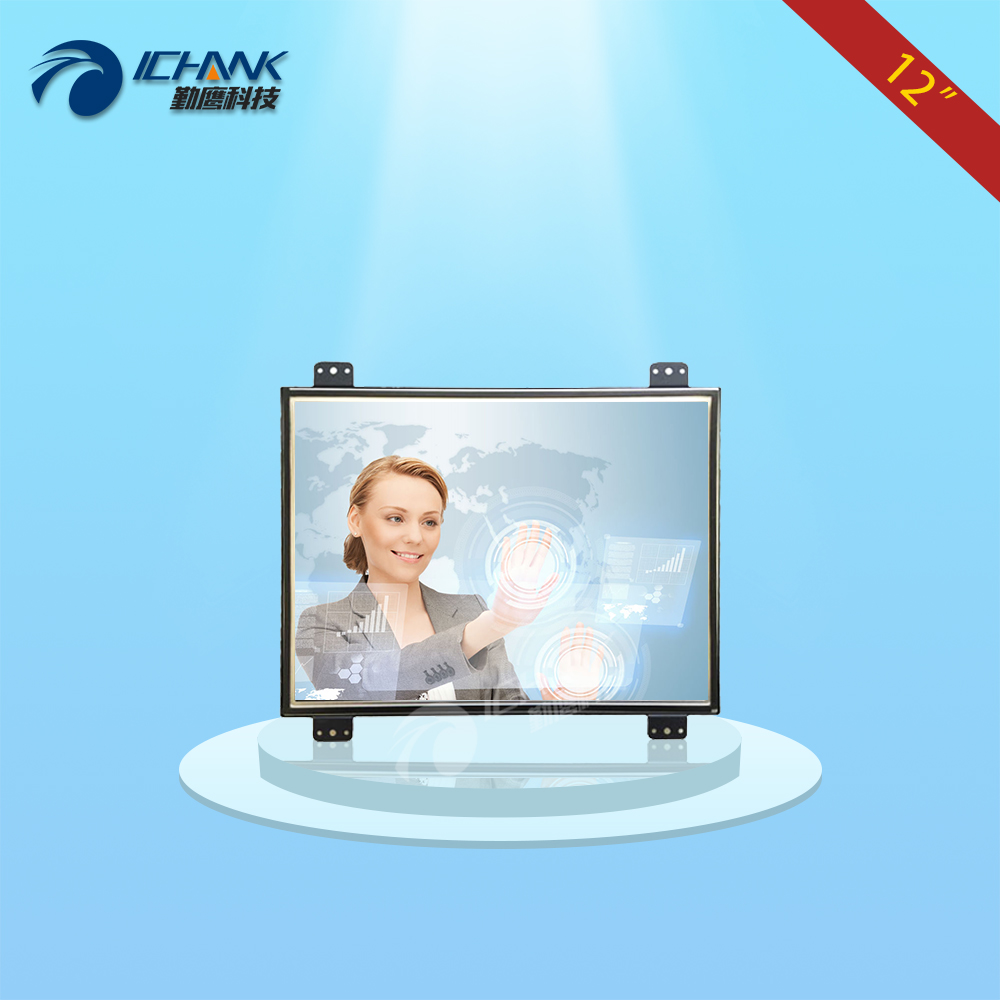 ZK120TC-DUV2/12 inch 1024x768 4:3 metal case DVI VGA Embedded Open frame industrial equipment touch monitor LCD screen display 8 8 4 inch vga dvi interface non touch industrial control lcd monitor display metal shell buckle card installation 4 3