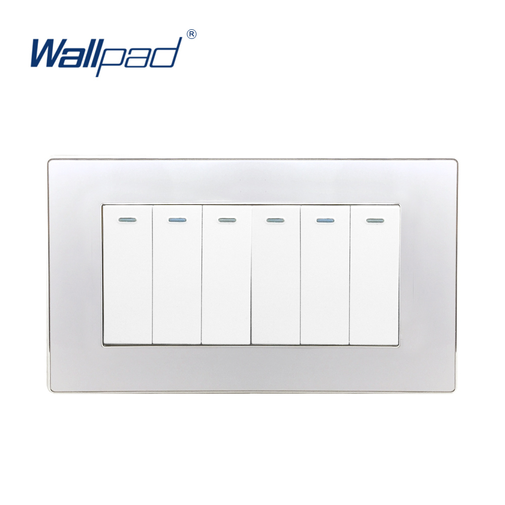 цена на 2018 Hot Sale 6 Gang 2 Way Wall Light Switch Wallpad Luxury Acrylic Panel Push Button Rocker Switch