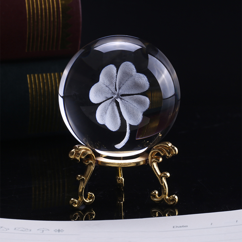 6CM 3D Laser Engraved Four Leaf Clover Crystal Ball Miniature Glass Globe Crystal Craft Home Decor Lucky Ball Ornament Gift