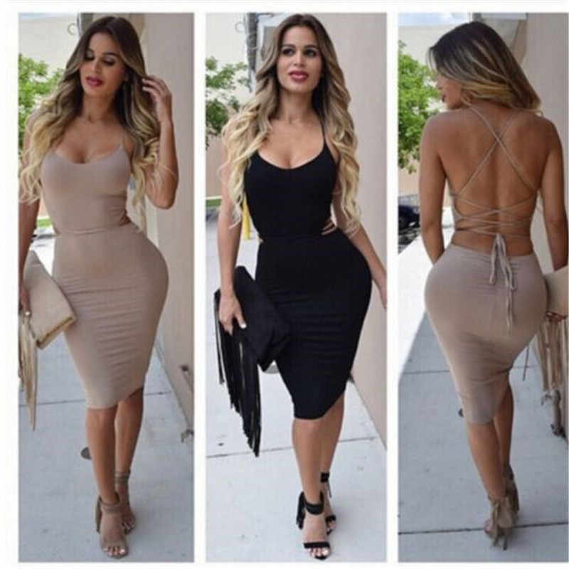 4f276fffeaeae Sexy Women Low Cut Package Hip Dress Bodycon Bandage Backless Hot ...