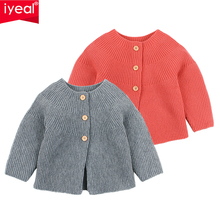 IYEAL Baby Boys Girls O-Neck Solid Toddler Children Sweaters Knitted Single Breasted Outerwear Clothes for 0-2 Years