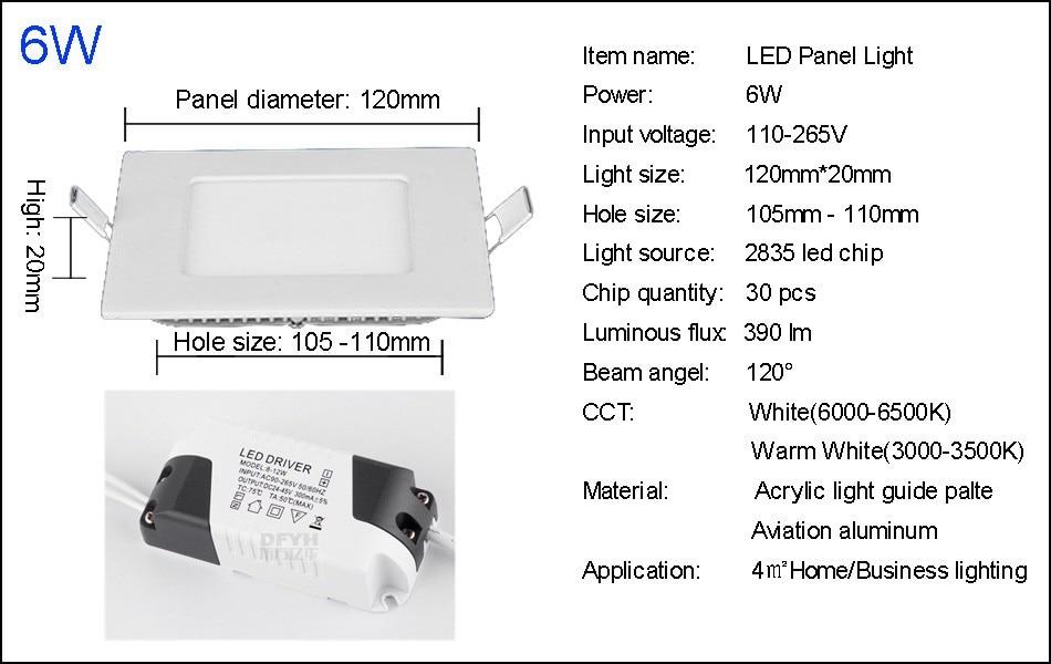 25W Square LED Panel Light Recessed Kitchen Bathroom Ceiling Lamp AC85-265V LED Downlight Warm WhiteCool White Free shipping (15)