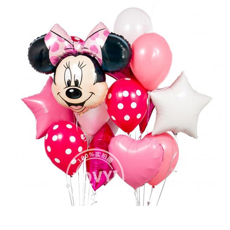 12 pçs mickey minnie mouse 18 polegada estrela balões de folha de hélio feliz aniversário decoração balão babyshower 1th aniversário globos
