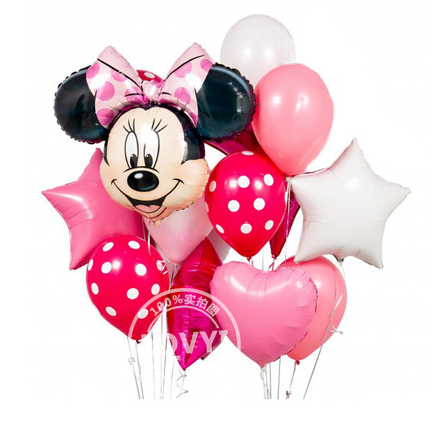 12pcs mickey minnie mouse 18 inch star Helium Foil Balloons happy birthday decoration balloon BabyShower 1th birthday globos