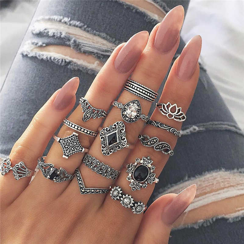 15pcs/set Bohemian Ring Set For Women Punk Knuckle Rhinestone Flower Leaves Finger Rings Silver Party Bague Homme