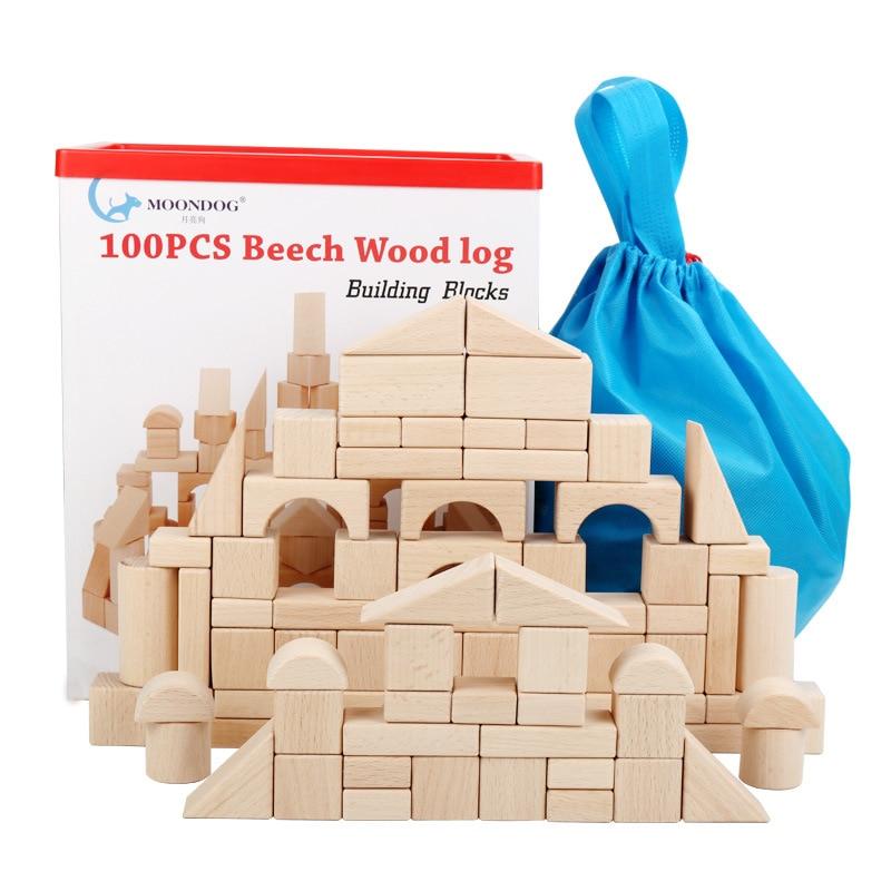100 pièces bricolage bois construction blocs de bois jouets enfants éducatifs apprentissage famille jeux jouet grognons lumières jouets pour enfants