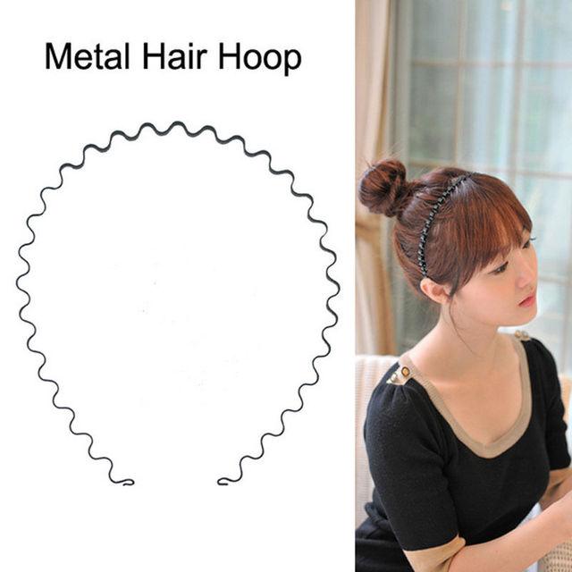 Fashion Men Women Unisex Black Metal Alloy Wavy Hair Head Hoop Band  Headband Hairband Headwear hair 7ab9a068391
