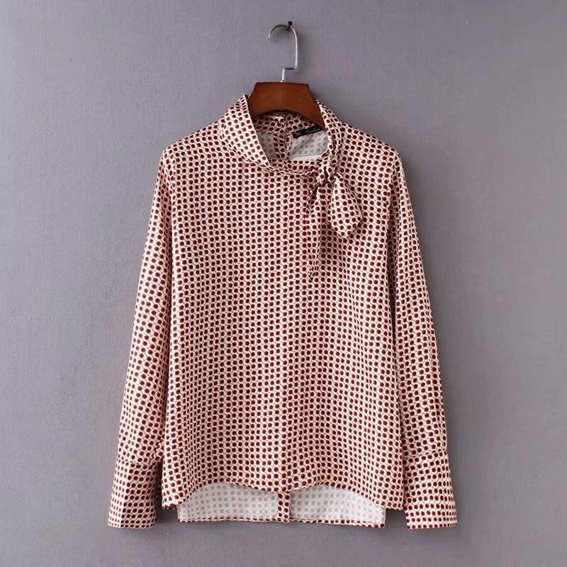 aa31b09e89 Mulheres do vintage impressão de manga comprida blusa casual camisa blusa  mulheres moda bow chic blusas