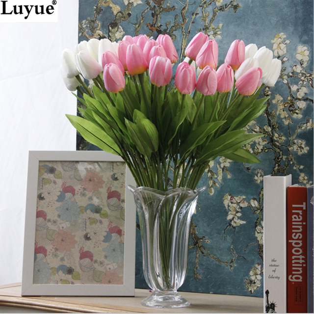 31pcs/lot Tulip Artificial Flower PU artificial bouquet Real touch flowers For Home Wedding decorative flowers & wreaths