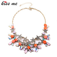 Shining Crystal Star Rose Flower Bib Pendants Ms Cluster Necklace Factory Wholesale
