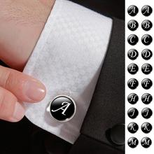 hot deal buy men's fashion a-m single alphabet cufflinks silver color letter cuff button for male gentleman shirt wedding cuff links gifts