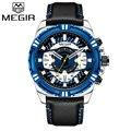 MEGIR Роскошные Брендовые мужские часы с хронографом, мужские водонепроницаемые спортивные военные кварцевые наручные часы с датой, мужские ...