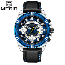 MEGIR 高級ブランドメンズ腕時計クロノグラフ腕時計男性防水日付スポーツミリタリークォーツ腕時計男性時計 Montre オム