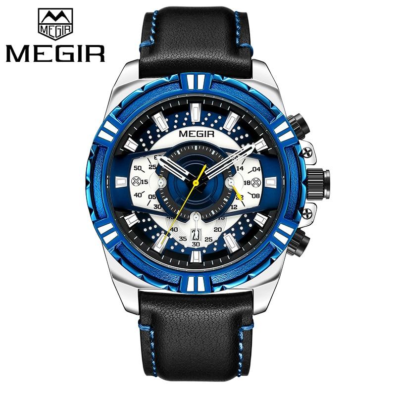 MEGIR Relógio Cronógrafo dos homens de Luxo Da Marca Relógios Homens Data Esporte Militar Quartz Relógio de Pulso À Prova D' Água Masculino Relógio Montre Homme