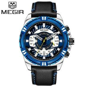 Image 1 - Megir marca de luxo relógio cronógrafo masculino relógios homem à prova dwaterproof água data esporte militar relógio quartzo masculino montre homme