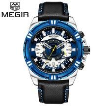 Reloj cronógrafo para hombre de marca de lujo MEGIR, reloj de pulsera de cuarzo militar deportivo resistente al agua para hombre