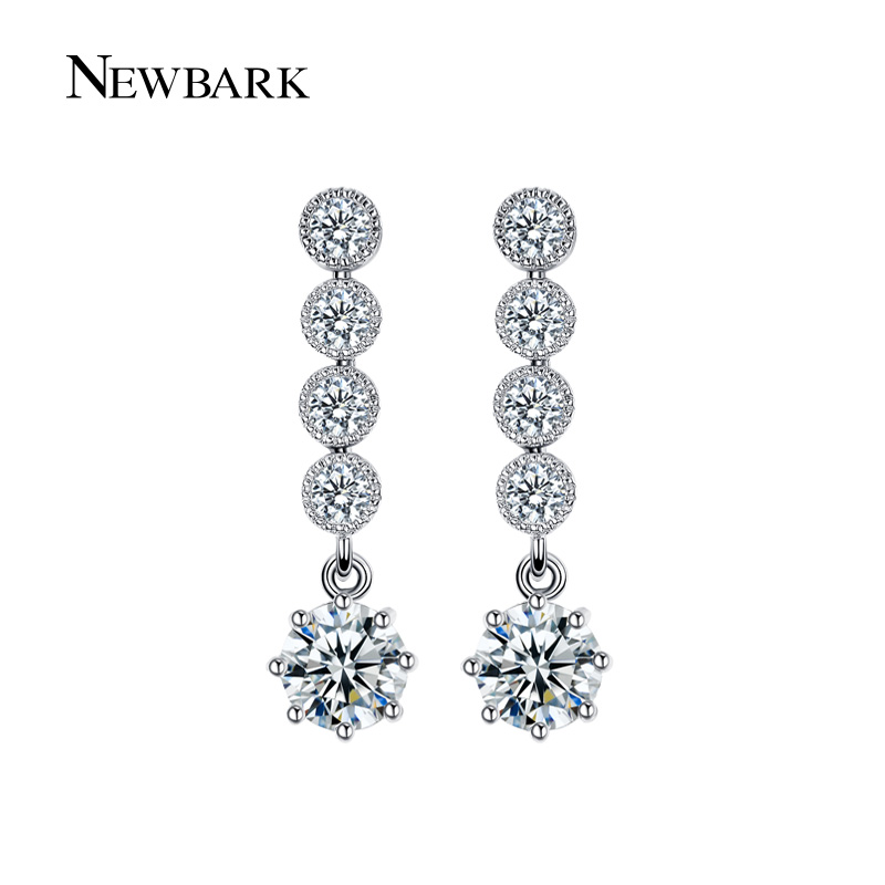NEWBARK Trendy Silver Color CZ Long Drop Earrings For Women Round Cubic  Zirconia Bridal Rhinestone Earrings Jewelry Brincos-in Drop Earrings from  Jewelry ... 6456d245aeb0