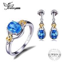 Jewelrypalace aparte del nudo de amor 18 k oro natural diamante azul topacio 925 anillo de plata esterlina de la joyería pendiente de la joyería fina