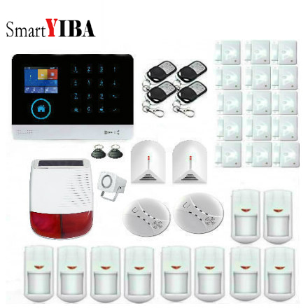 SmartYIBA Touch Keyboard Wireless WIFI GSM GPRS Home Security Alarm System App Control Sora Siren Door Sensor Smoke Detector цена