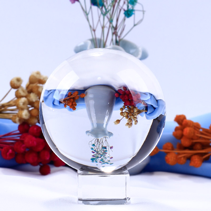 US $7 66 30% OFF|6/7/8cm Photography Magic Crystal Ball Divination Travel  Take Photo K9 Crystal Ball Home Decors-in Figurines & Miniatures from Home  &