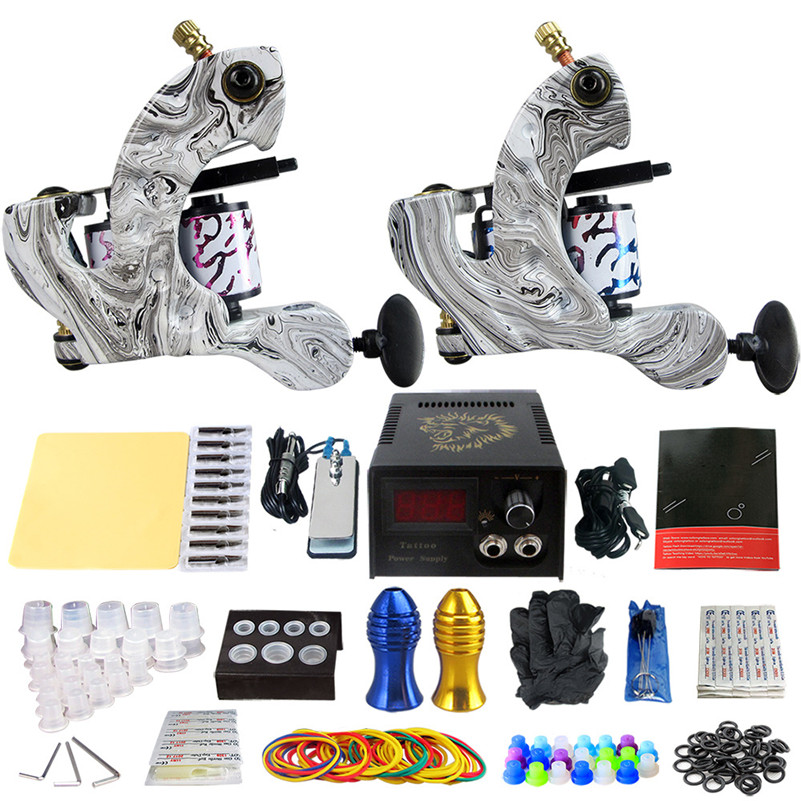 Professional Tattoo Supply kits 2pcs Coil Tattoo Machine Tattoo Guns Liner Shader Power Supply Needles Tips Grips Tattoo Artist europe god of darkness robert recommend gp self lock grips gp3 professional tattoo artist grip