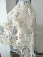 5yard 3D Lace Fabric With Ostrich Feather Nude Heavy Bead Lace Fabric For Haute Couture Dress