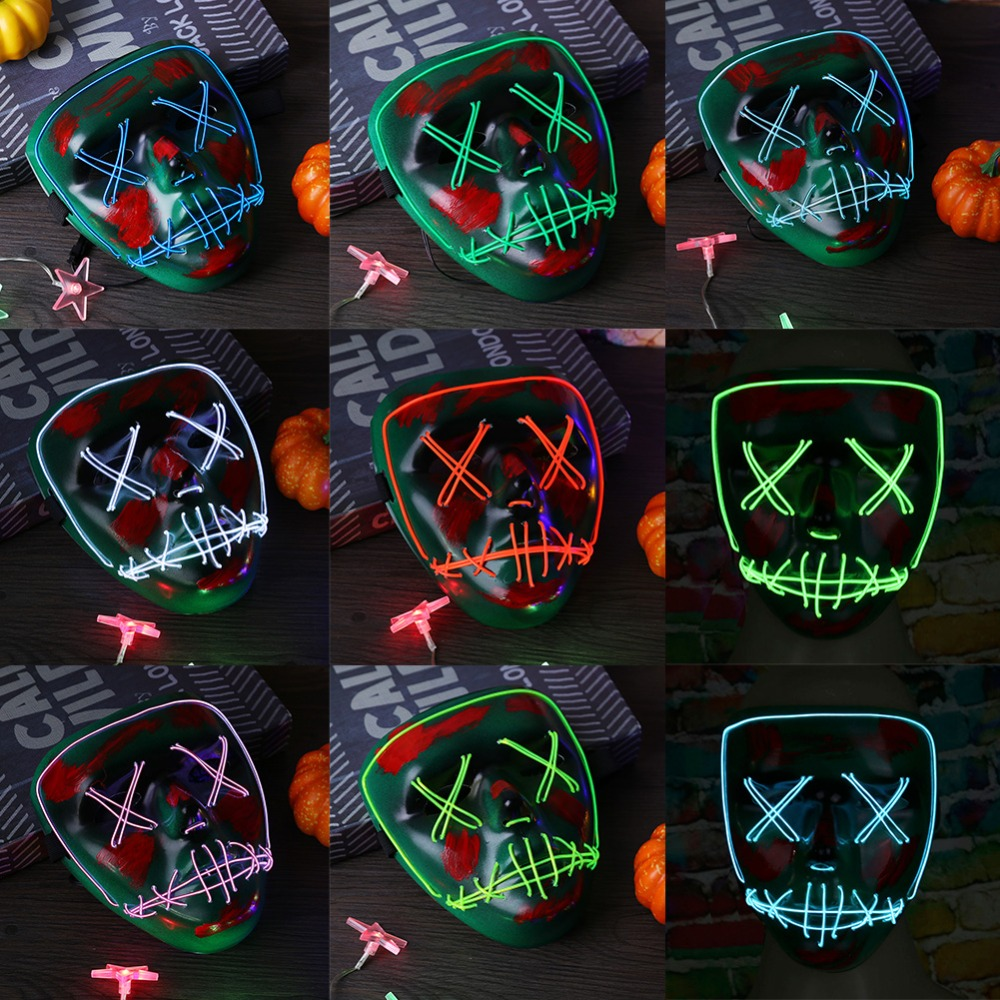 Newest Dc3v Fashionable Gender Reveal Supplies Neon Led Light Bloody Face Bulksale Holiday Lighting El Rope Carnival Scary Mask Lights & Lighting