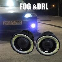 2pcs Lot 2 5inch Car Fog Lights Angel Eyes 64mm 3200lm Universal COB LED DRL Driving