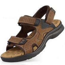 Мужчины сандалии тапочки из натуральной кожи коровьей мужской летняя обувь на открытом воздухе случайные замши сандалии