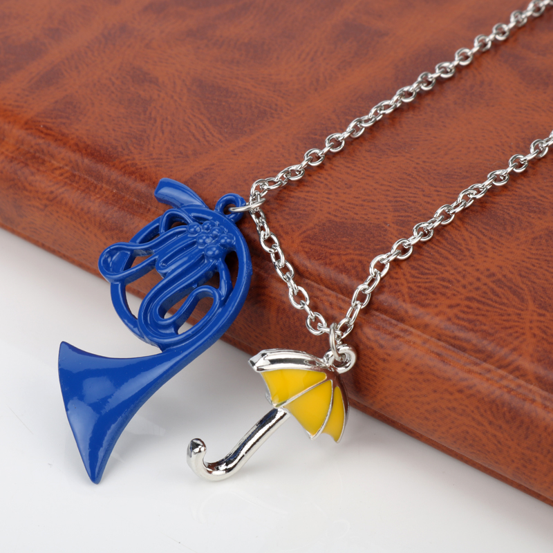 HIMYM How I Met Your Mother Umbrella Blue French Horn Pendants Necklace Link Chain Choker Necklace Neckwear