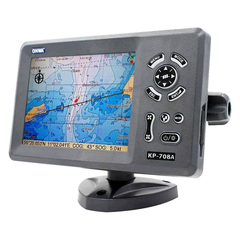 ONWA KP-708A 7-inch Color LCD GPS Chart Plotter with GPS Antenna and Built-in Class B AIS Transponder Combo Marine GPS Navigator