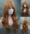Sexy LONG Wavy Lace Front Wig Ginger with Golden blonde Highlights free shipping