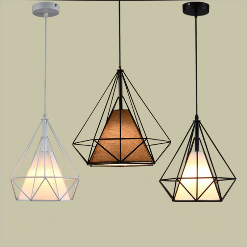 Free Delive led bulb colorful birdcage pendant lights iron retro light oft pyramid lamp metal cage with VDE best wire and holder in Pendant Lights from Lights Lighting