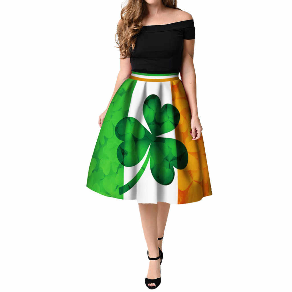 12c15c327 Women summer dress St Patrick's Day Clover Printed Pleated Flared Midi  party night sexy dress women