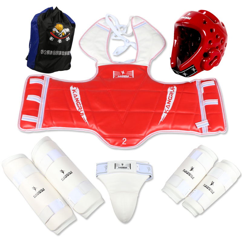 Taekwondo protectors 6pc karate groin guards chest guard arm leg protector muay thai supporter ProForce shin guard Karate Helmet jduanl 1pc left right thick leg support boxing pads muay thai mma legs guards protector trainer combat sanda karate training deo