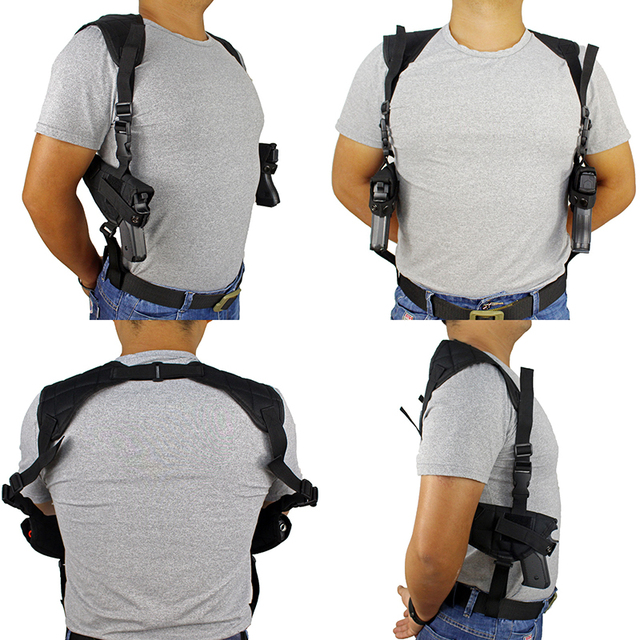 Tactical Double Draw Pistol Holster Concealed Hand Gun Shoulder Holster Under Arm Pistol Holster Soft Pouch Black 3