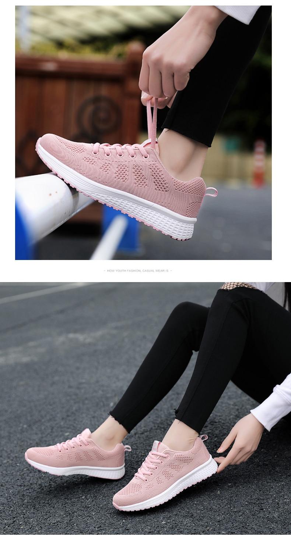 2021 moda feminina tênis confortável malha respirável