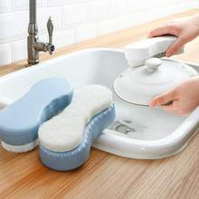 Kitchen Sponge Dish With Refill Liquid Soap Dispenser Scrubber Cleaning Brush Washing Products Replaceable Pad