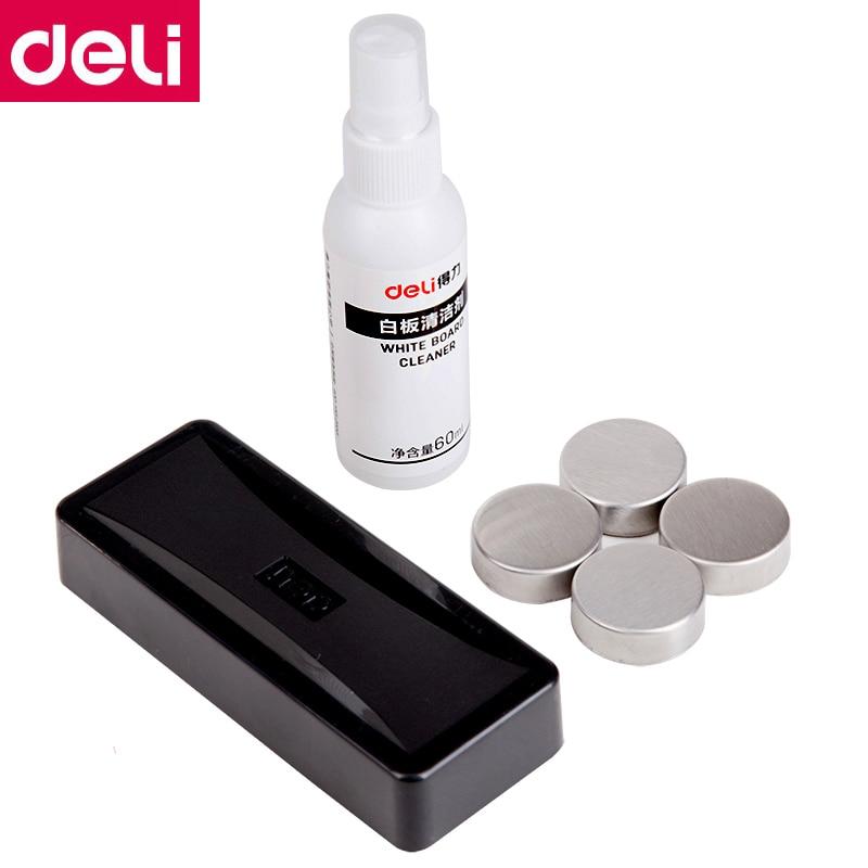 Deli 8728# White Board Accessories Set Kit Include 50ml Eraser Water Spray+ 1 Eraser + 4 Magnetic Fix Nail