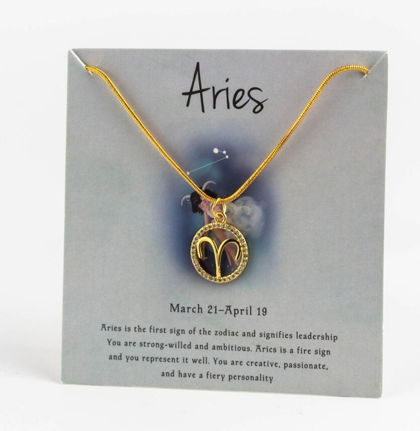 Ожерелье с подвеской в виде животных 12 созвездий для женщин, чокер для пар, массивная цепочка, ожерелье золотого цвета, Знак зодиака с коробкой для карт - Окраска металла: 11