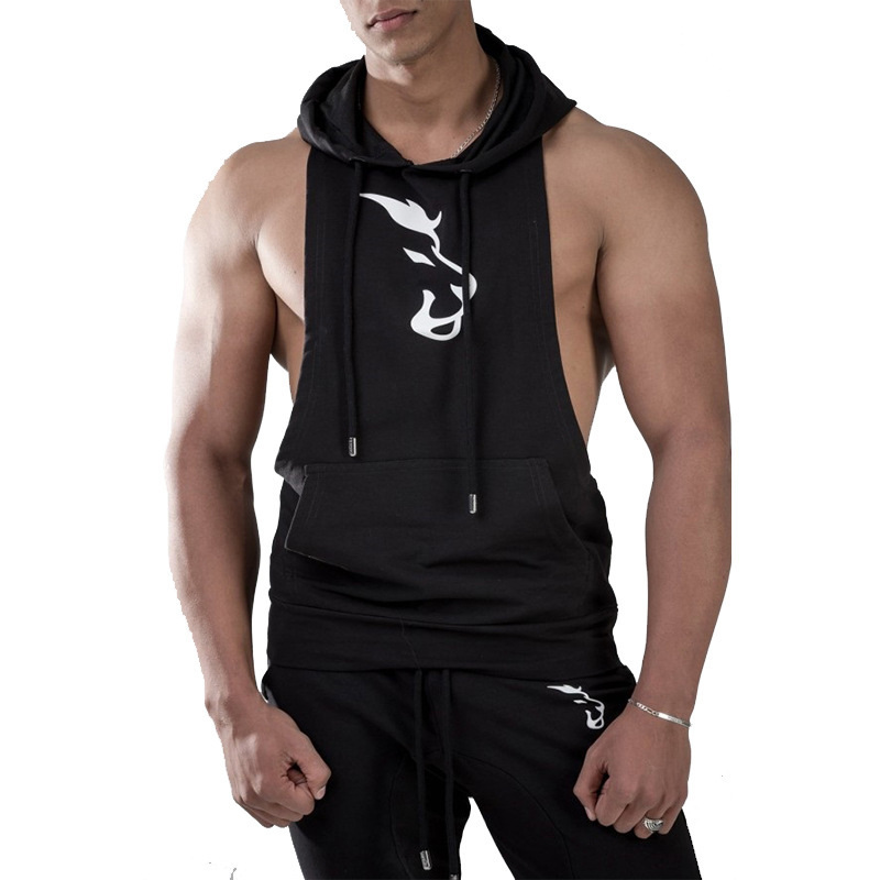 New Men Bodybuilding Cotton   Tank     top   mens Gyms Fitness Hooded Vest Sleeveless Hoodie Casual Fashion Crossfits Workout Clothing