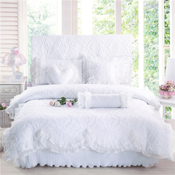 100%Cotton Thick Quilted lace Bedding set King queen Twin size Bed set Princess Korean Girls White Pink Bed skirt set 28