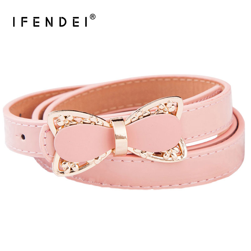 IFENDEI Stylish Women's Belts Pink Bow Strap Belt Female Patent PU Leather Waist Belt White For Dress Skirt Ceinture Femme