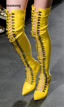 Women Sexy Pointed Toe Buttons Thin Heel Over Knee Gladiator Boots Lace-up Cut-out Yellow White Black Long High Heel Boots