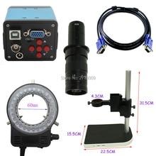 Wholesale HD 1080P 2.0MP Industrial Microscope Camera VGA USB AV  Outputs 10X-180X Optical C-Mount Lens LED Light Adjustable Lift Bracket